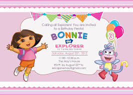 Invitation Cards For Birthday Party Printable Free Printable Dora The Explorer Birthday Party Invitations Design