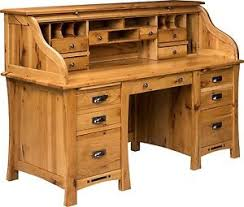 Executive Desk Solid Wood Amish Mission Craftsman Roll Top Desk Executive Secretary Solid