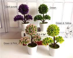 Plants Home Decor Artificial Flower Sakura Snow Desktop Green Plant Mini Bonsai Tree