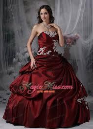 burgundy quince dresses burgundy gown strapless floor length taffeta appliques