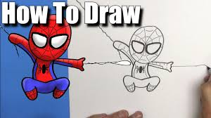 draw spiderman easy chibi step step