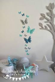deco chambre turquoise gris stickers papillons gris turquoise caraïbe pétrole blanc bleu