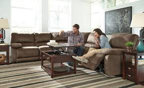 new ashley seamus power reclining sectional with cooling cup