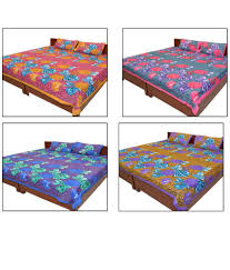 Double Cot Bed Sheets Online India Shop Rajasthan Multi Colour Printed Cotton 4 Bed Sheets With 8