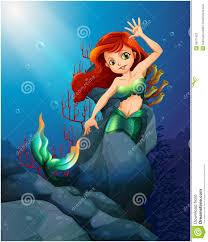 pretty mermaid trapped big rocks sea stock