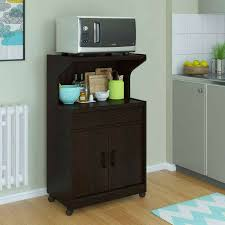 Black Microwave Cart Kitchen Microwave Stand Island Cart Shelf Storage Cabinet