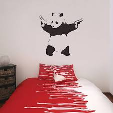 online shop gy08 banksy wall stickers deep love couple astronauts banksy panda wall stickers by the binary box notonthehighstreetcom banksy wall stickers