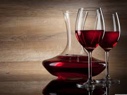 drink red wine glass wood background