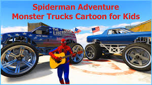 monster truck videos on youtube spiderman adventure monster trucks cartoon for kids cars games for