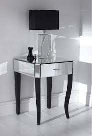 luxury glass top mirrored nightstand ideas featuring single