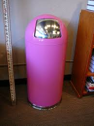 Tall Trash Can by Vintage Metal Trash Can Powder Coated In Pink Push Style