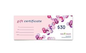 gift certificate printing nail salon gift certificate template