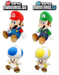 san ei super mario bros wii 4 main characters plush sets