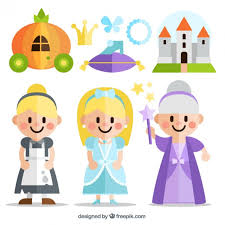 flat cinderella story characters vector free download