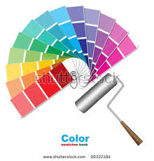 color swatches paint roller brushes stock vector 99322184