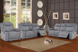 Grey Reclining Sofa Volo Grey Fabric Reclining Sofa Loveseat With Console And Chair