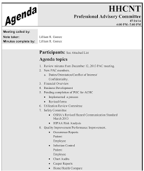 Agenda Templates For Meetings by Pac Meeting Purpose Medicare Home Health Home Health Care