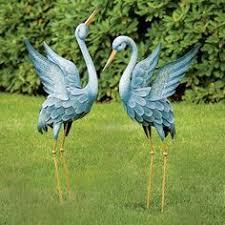 blue heron metal crane bird statue stake yard lawn ornament