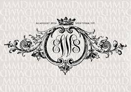 baroque ornament crown wedding monogram wedding logo