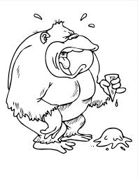 coloring page of gorilla bowl of ice cream coloring page as well as monkey gorilla is crying