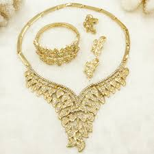 crystal design necklace images 2018 fashion dubai luxury crystal wedding gold jewelry sets leaf jpg