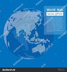 earth globe map dotted world map background earth globe stock vector 373799977