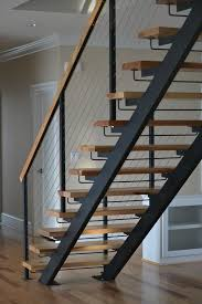 Metal Landing Banister And Railing Double Stringer Steel Staircases With Wood Treads In Nyc U0026 Ct