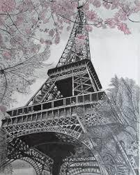 paris eiffel tower pencil drawing on canvas by littlebitzofart