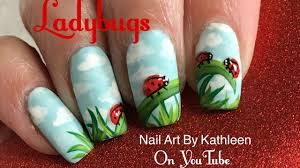 ladybug nail art tutorial matte nails with 3 d ladybugs youtube