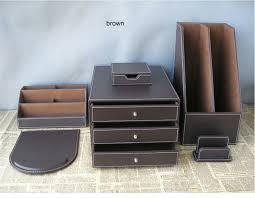 Desk Accessory Sets 6pcs Set Pu Leather Desk Accessories Desk Organizer Set File