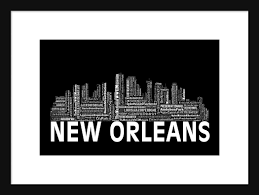 Chicago Map Art by New Orleans Skyline Word Art Typography Typographical Print