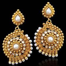 dangler earring buy ethnic indian jewelry gold finish pearl polki