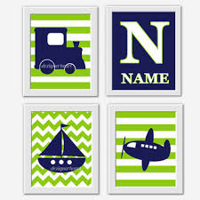 Navy And Green Nursery Decor Baby Boy Nursery Wall Blue Gray From Dezignerheartdesigns On