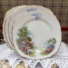 royal vale bone china 1950s tea plate homestead thatched cottage