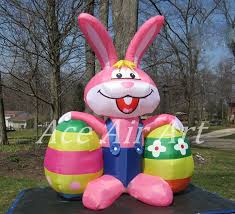 big easter bunny big easter balloon inflatableb bugs bunny carrying 2 eggs for