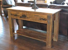reclaimed barn wood table teton 2 drawer sofa table rustic furniture mall by timber creek