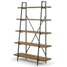 etagere metal ailis 71 5 leaning etagere brown pine wood metal frame bookcase