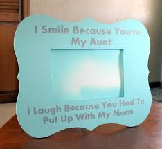 personalized picture frame for aunt with quote i smile because
