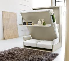 Grey And White Kids Room Design A Bed White Folding Bed And Sofas With Shelves Space Saver