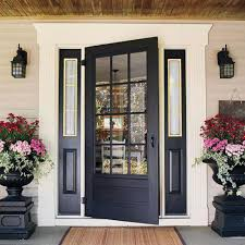 exterior cool front door design with black single door combine