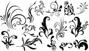 flourish ornaments silhouette vector eps
