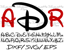 disney silhouette alphabet font design for use with your