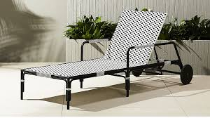 Black And White Patio Furniture Caprice Resin Wicker Chaise Lounge Chair Cb2
