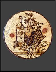 Grapes And Wine Home Decor Hand Made Da Vinci Wood Burned Plaque Pyrography Custom Art