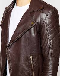 brown leather motorcycle jacket asos leather biker jacket in brown for men lyst
