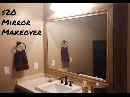 framed bathroom mirrors diy diy 20 mirror makeover framing bathroom mirrors youtube