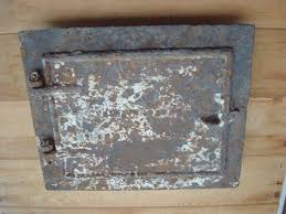 vintage fireplace chimney clean out door cast iron louver