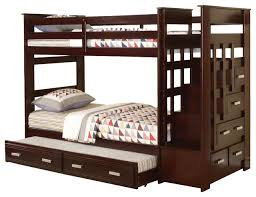 Allentown TwinOverTwin Bunk Bed With Storage Stairway And - Wooden bunk beds with drawers