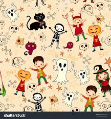 halloween repeating background patterns vector seamless background kids halloween costumes stock vector