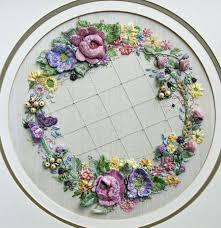 ribbon embroidery flower garden summer garland a3 large embroidery panel di van niekerk